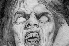The Living Vampire drawn from a painting on the front of a Marvel horror comic